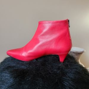 Red soft  leather Kitten heel ankle boots